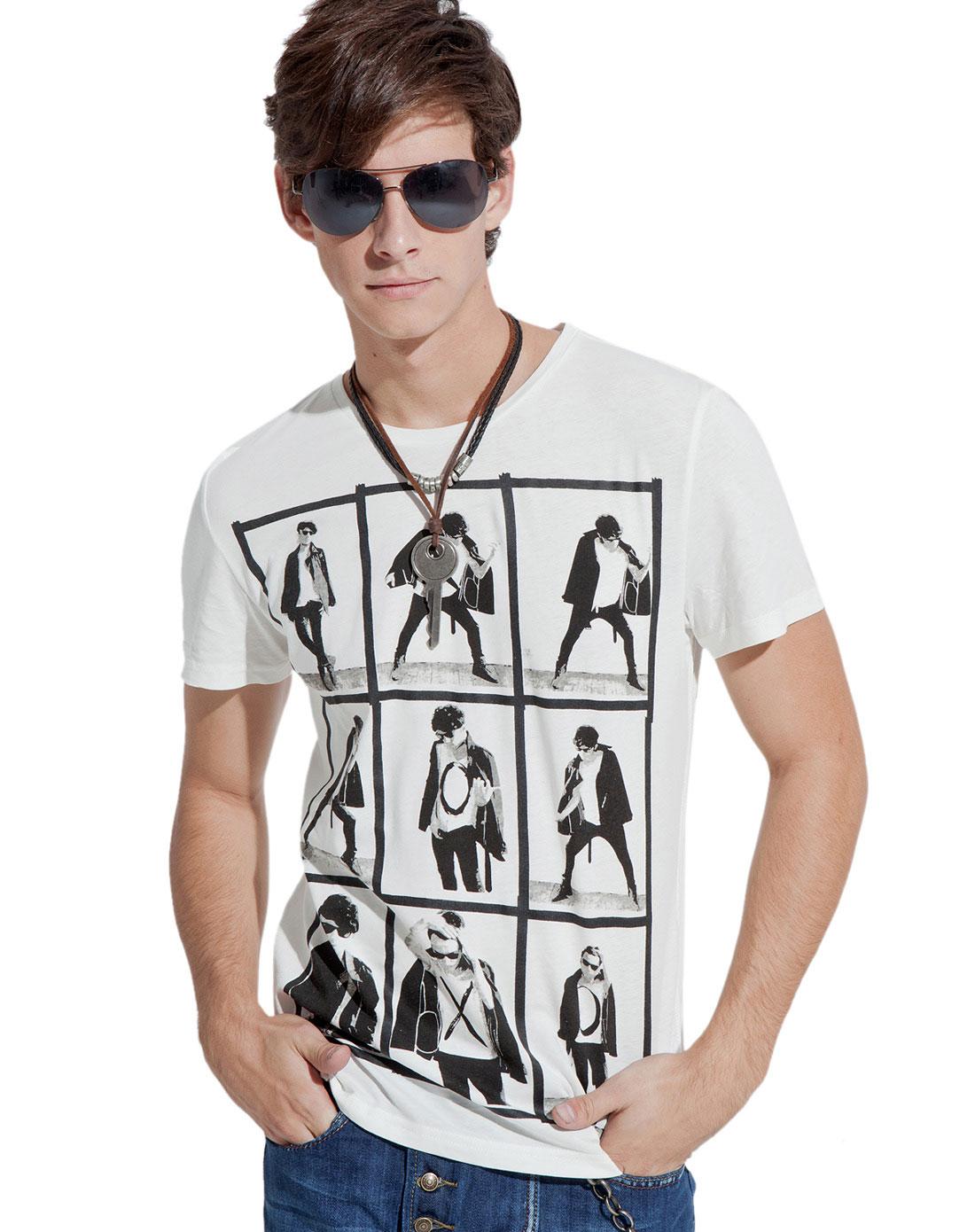 白色人物图案休闲短袖t恤
