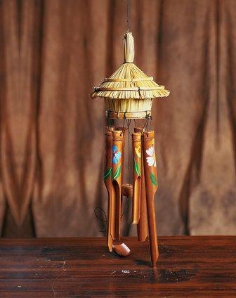 【印尼进口】巴厘岛竹屋风铃(带图案)