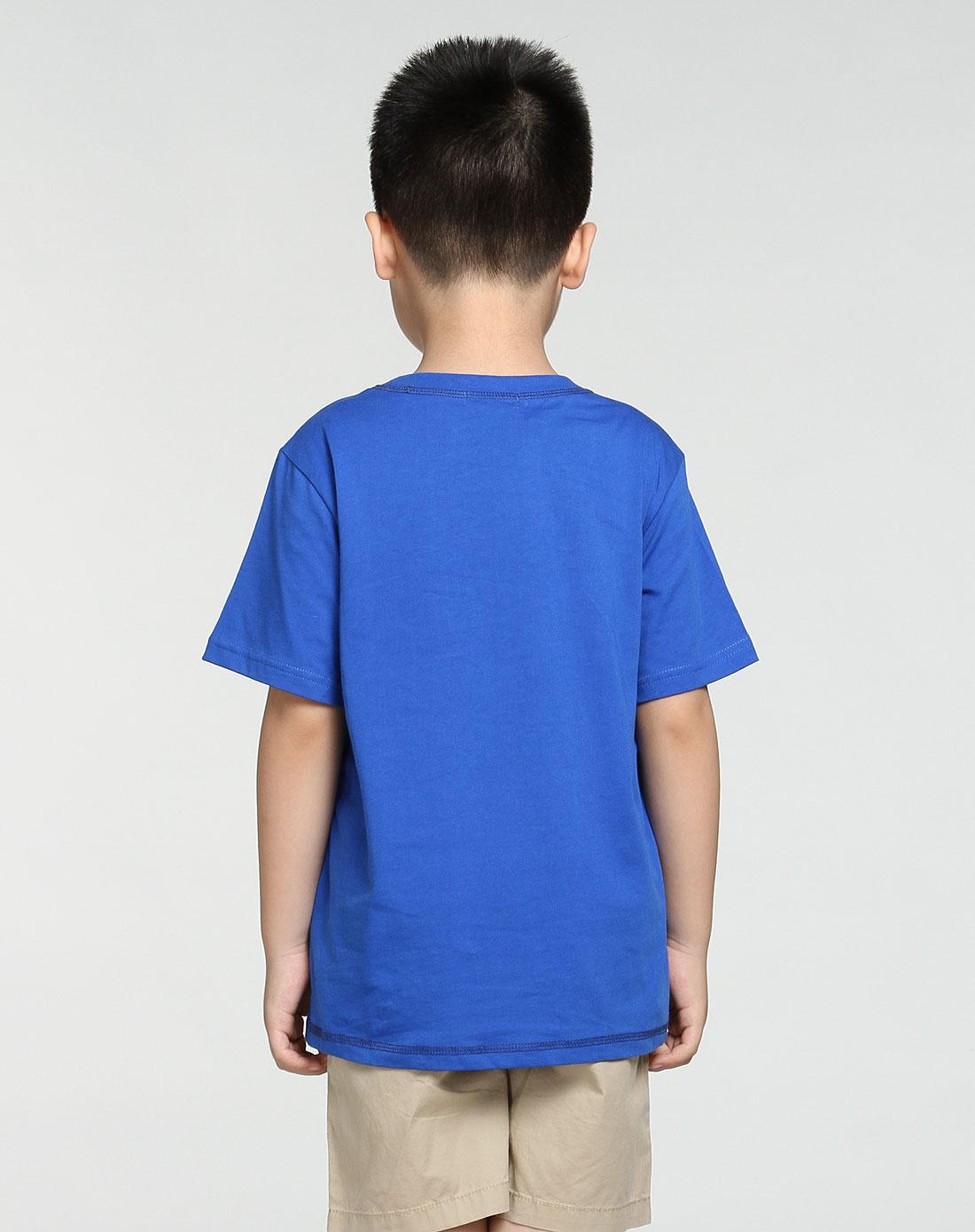 男童深蓝色线纹印图短袖t恤