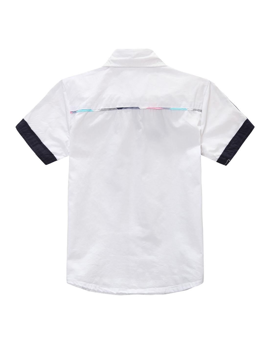男童白色短袖衬衫