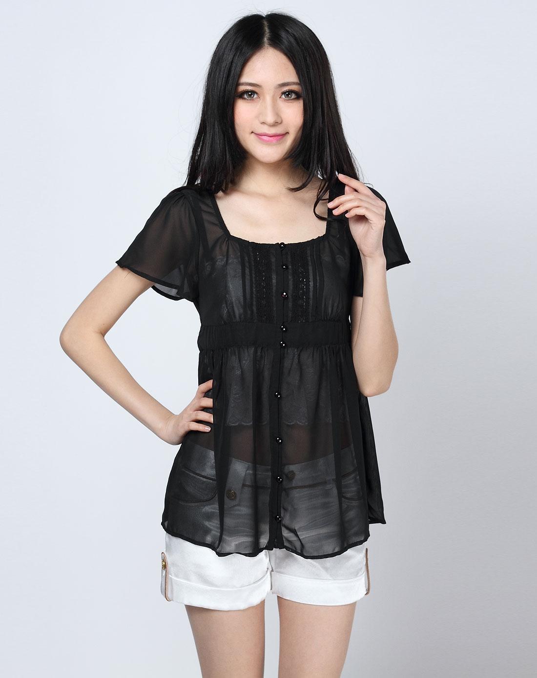 高贵典雅黑色纯色短袖上衣