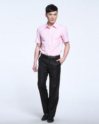 男款粉红色竖条纹正装短袖衬衫
