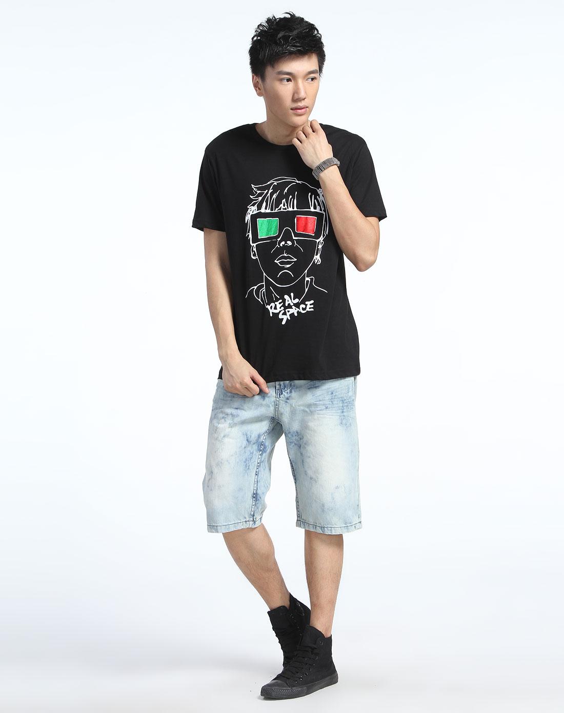 个性人物涂鸦黑色短袖t恤