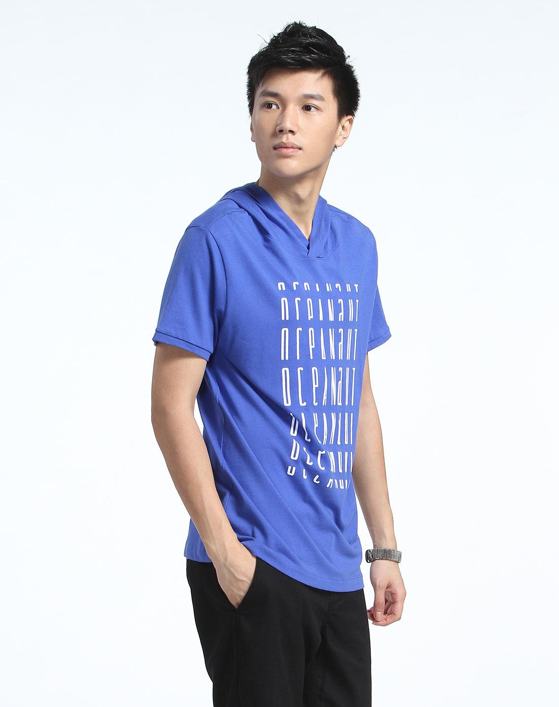 森马带帽植绒字宝蓝色短袖t恤10004212103-8420