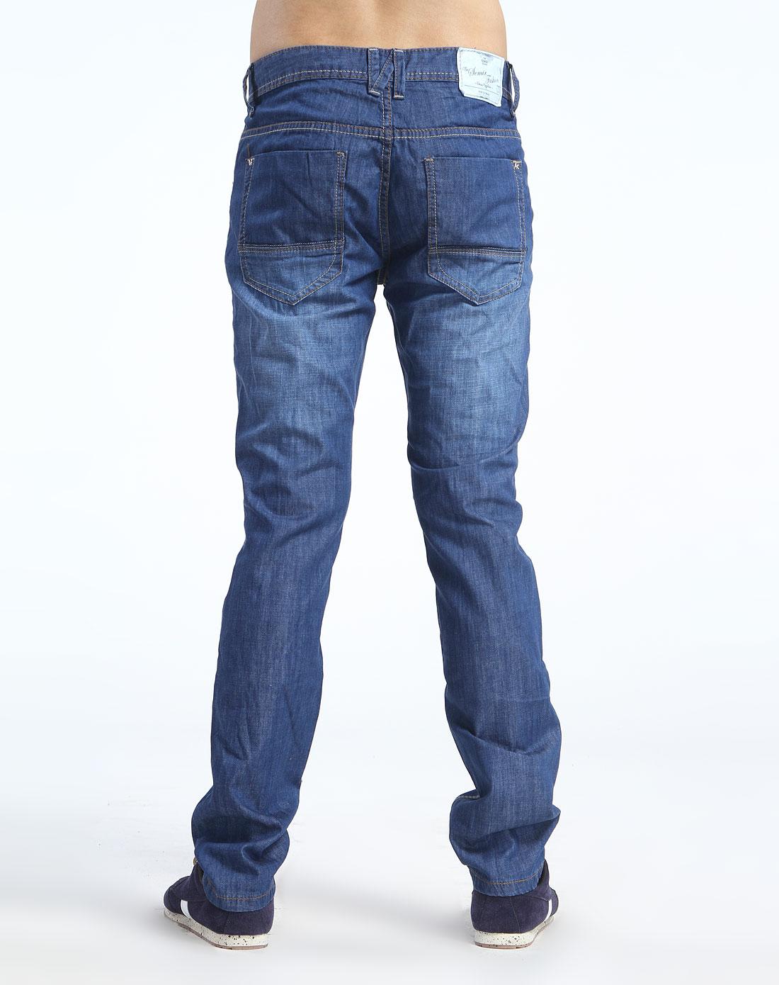 蓝色车线休闲中腰牛仔长裤