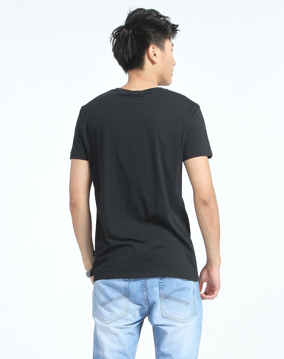 可爱印花圆领短袖黑色t恤