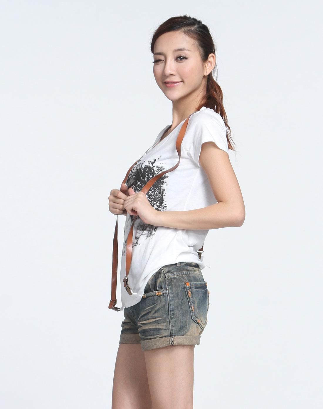 森马动物印图本白色短袖t恤10001212017-1100