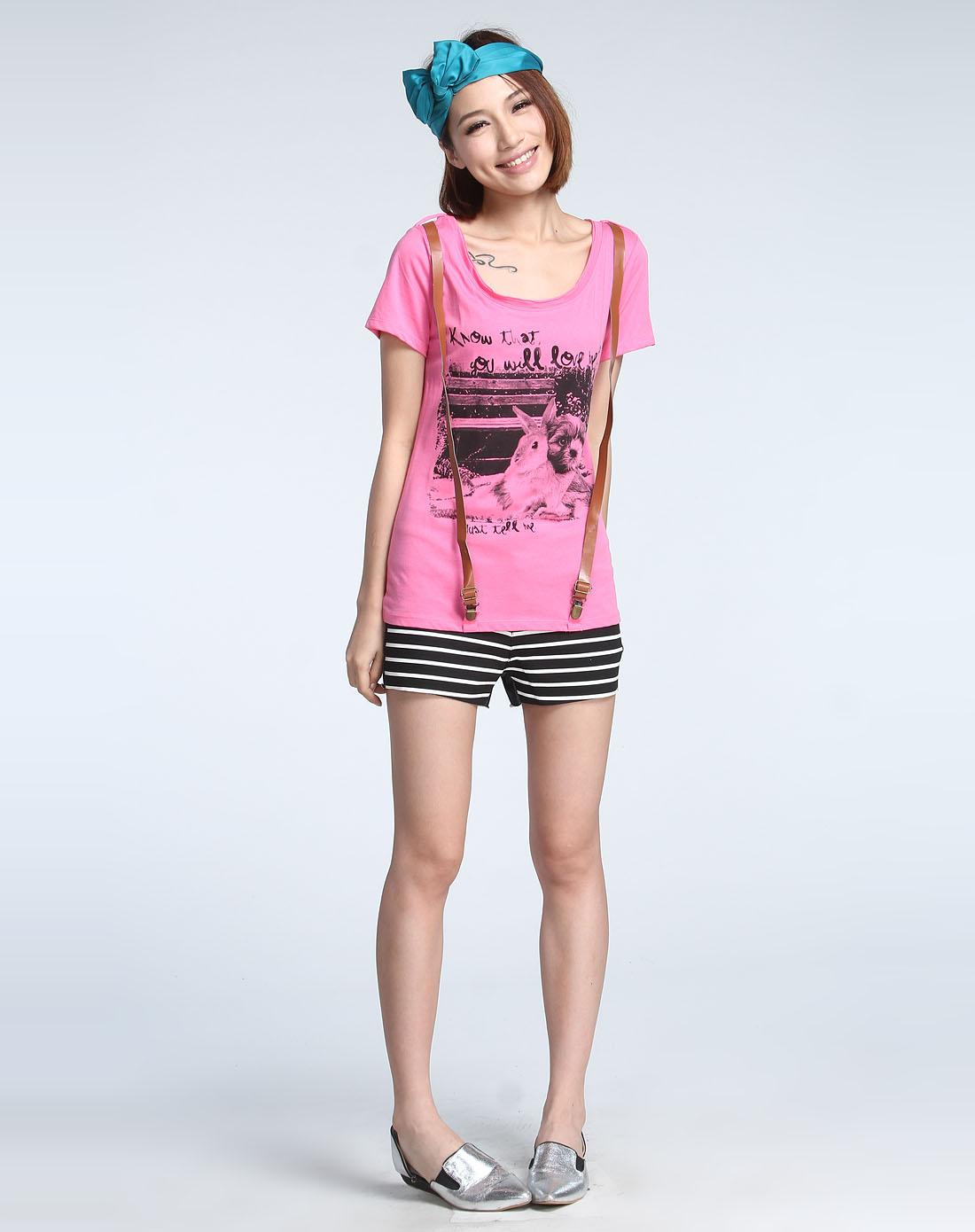 森马动物印图玫红色短袖t恤10001212017-6100