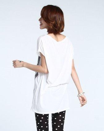 手绘字母宽松本白色短袖t恤