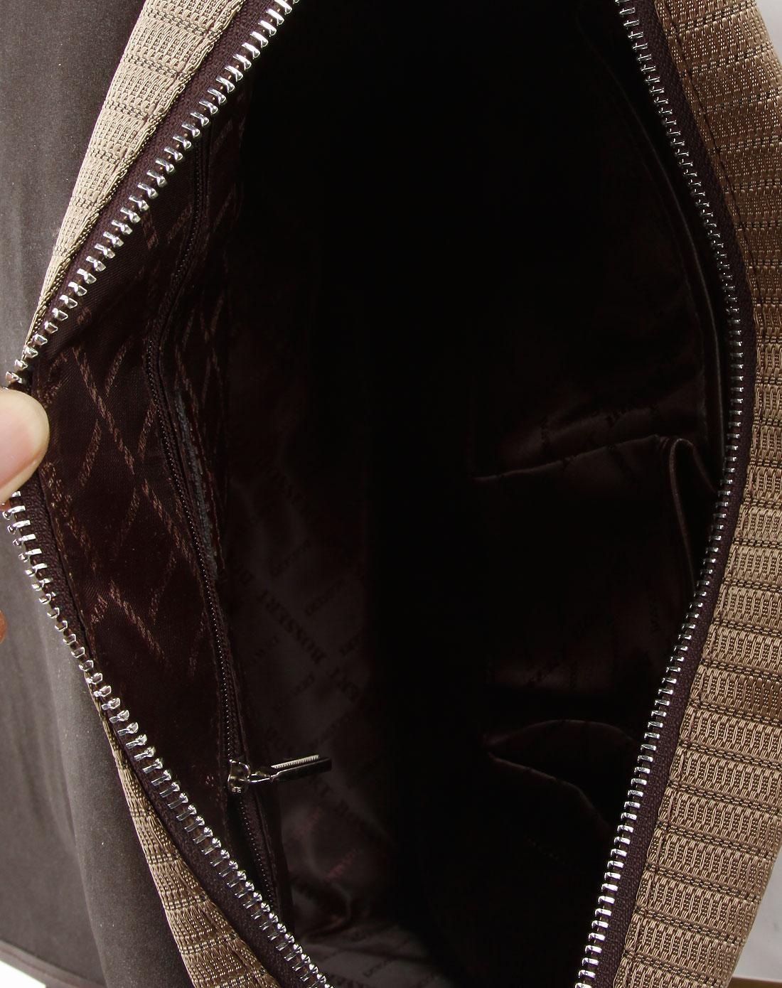 波士威尔bossert浅咖啡色条纹商务单肩包151233-c