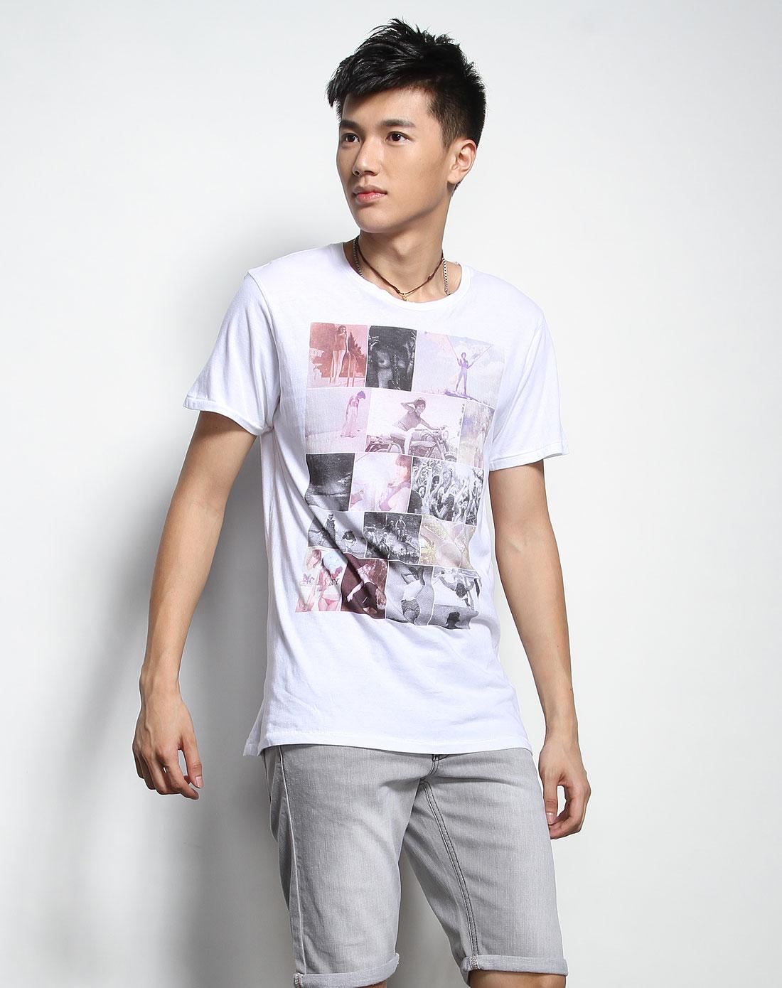潮牌supreme being 男款白色个性印图短袖t恤衫sbstl