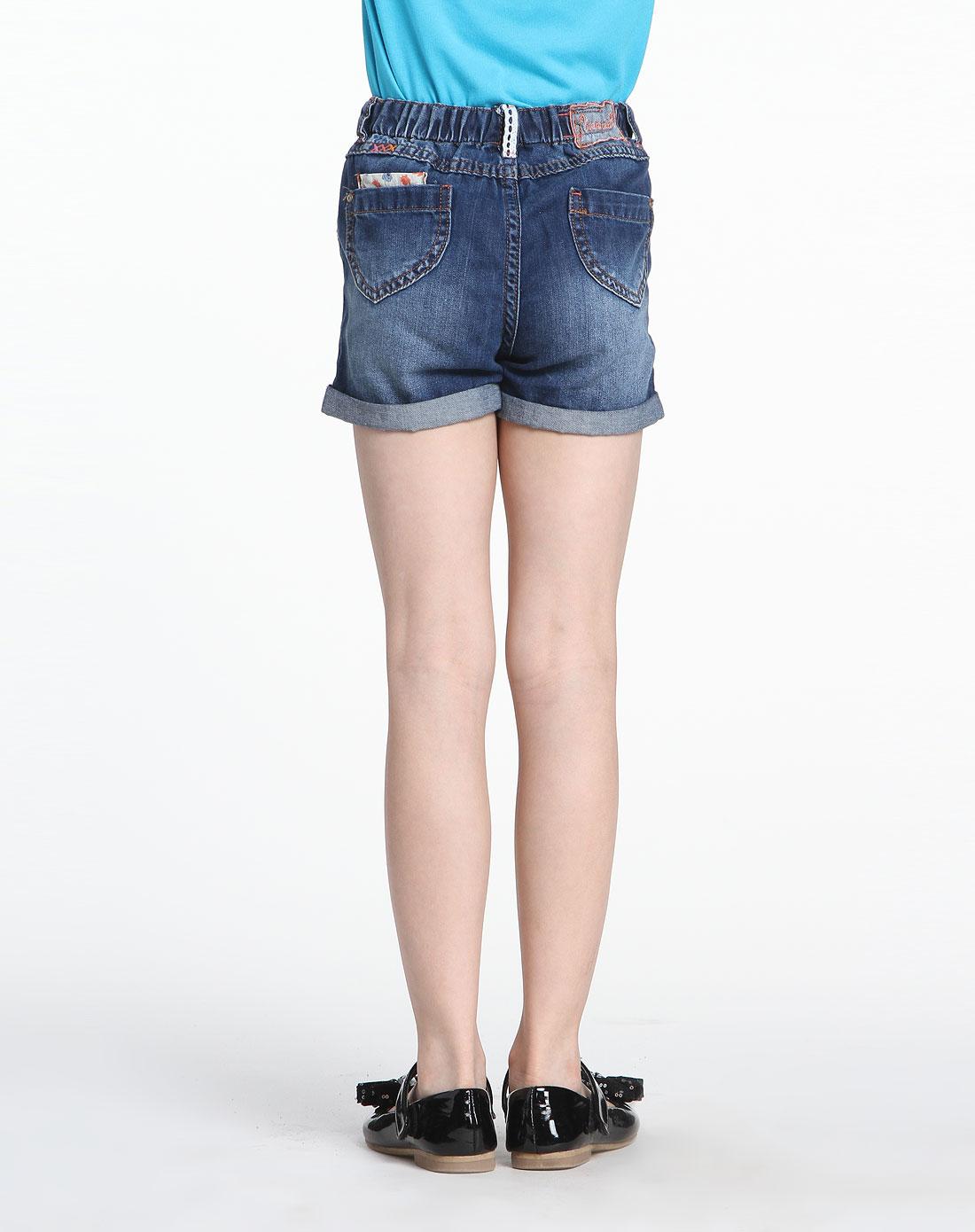 女童贴袋可爱深蓝色牛仔短裤