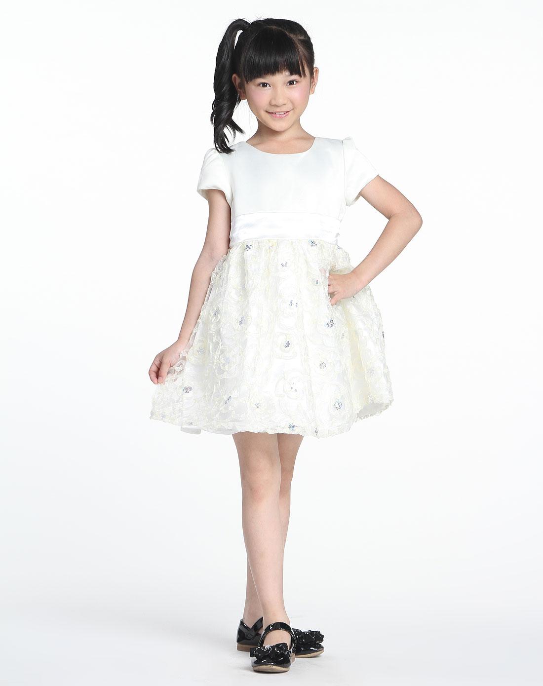 女中童可爱公主装香草白色短袖连衣裙