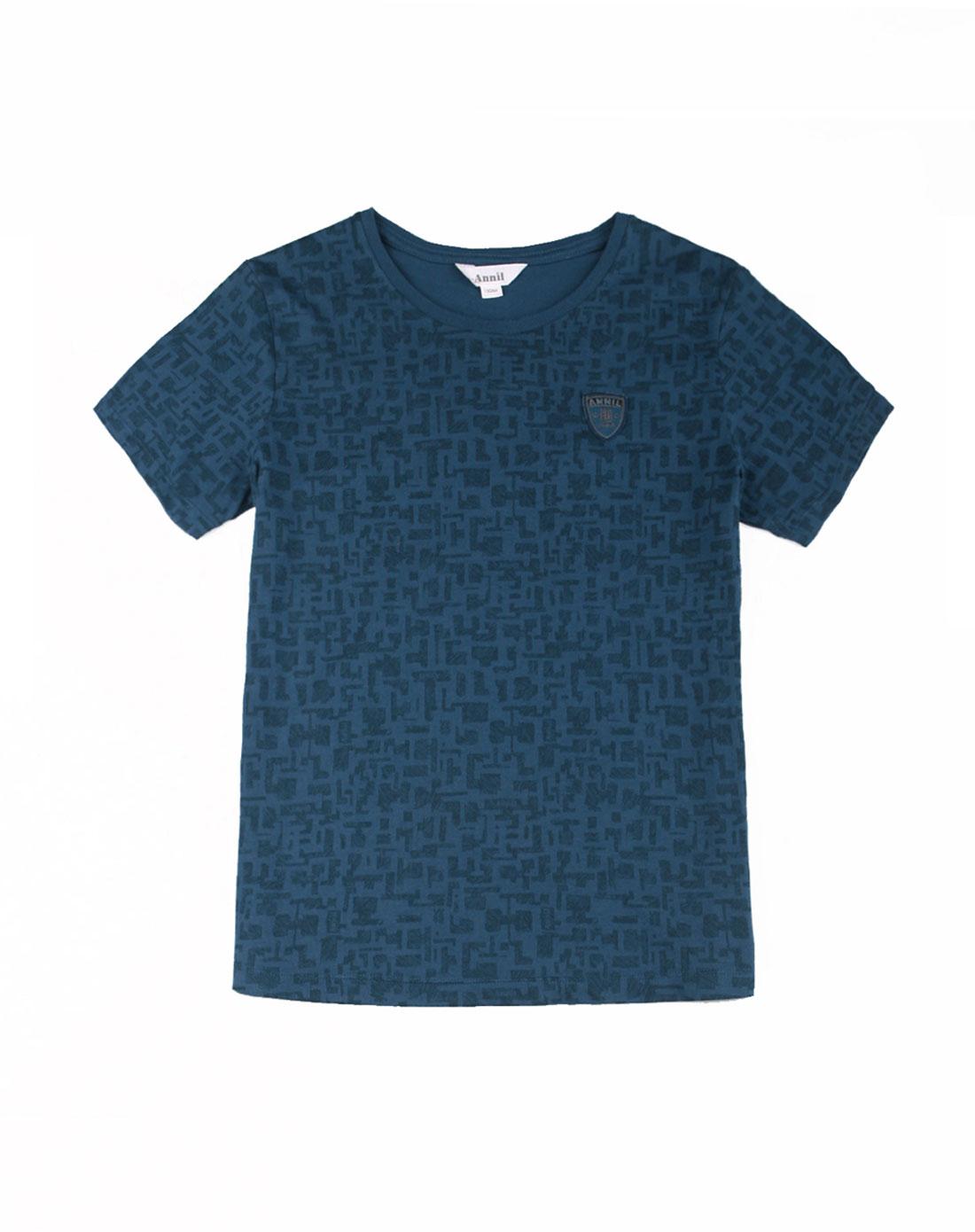 手绘蓝t恤创意图案