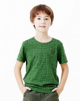 男童海洋绿手绘花圆领短袖针织衫