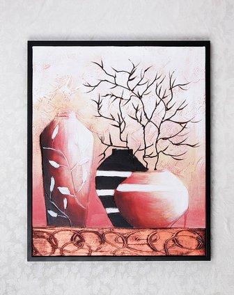 手绘油画-静物花瓶h32