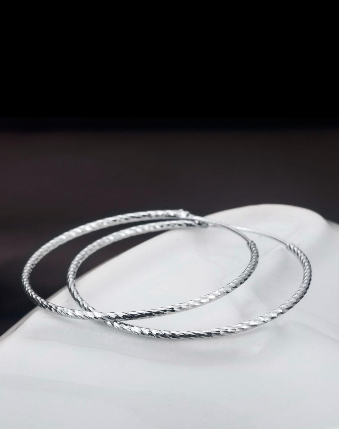车花耳环925纯银大圆圈耳环高贵典雅4cmx1mm空心耳圈