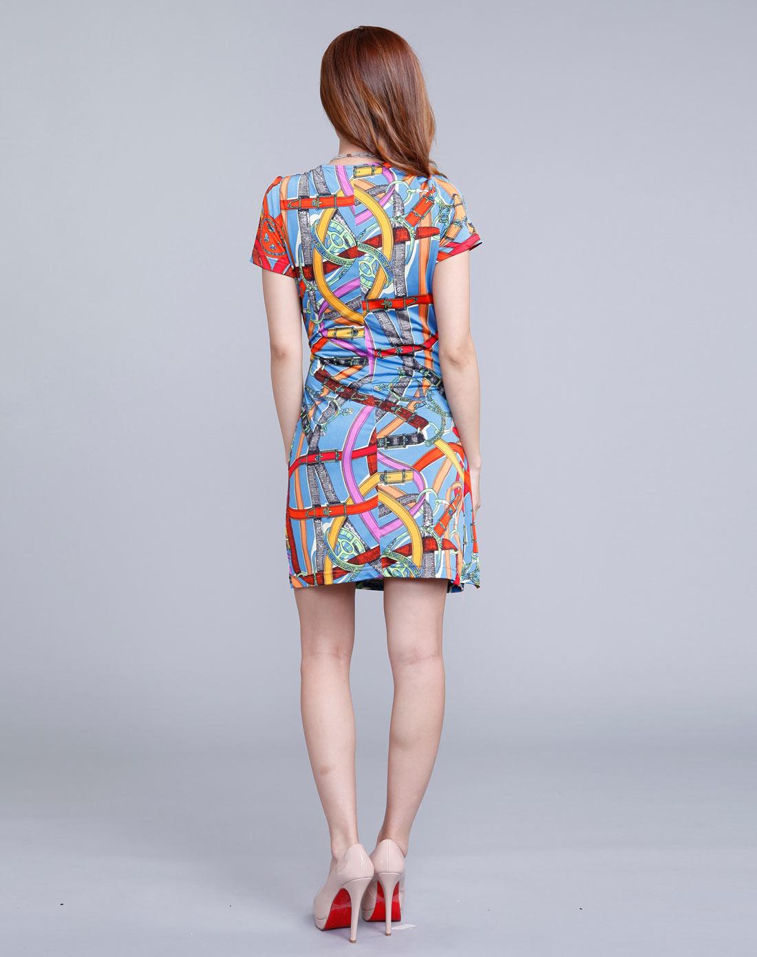 时尚个性复古花纹连衣裙