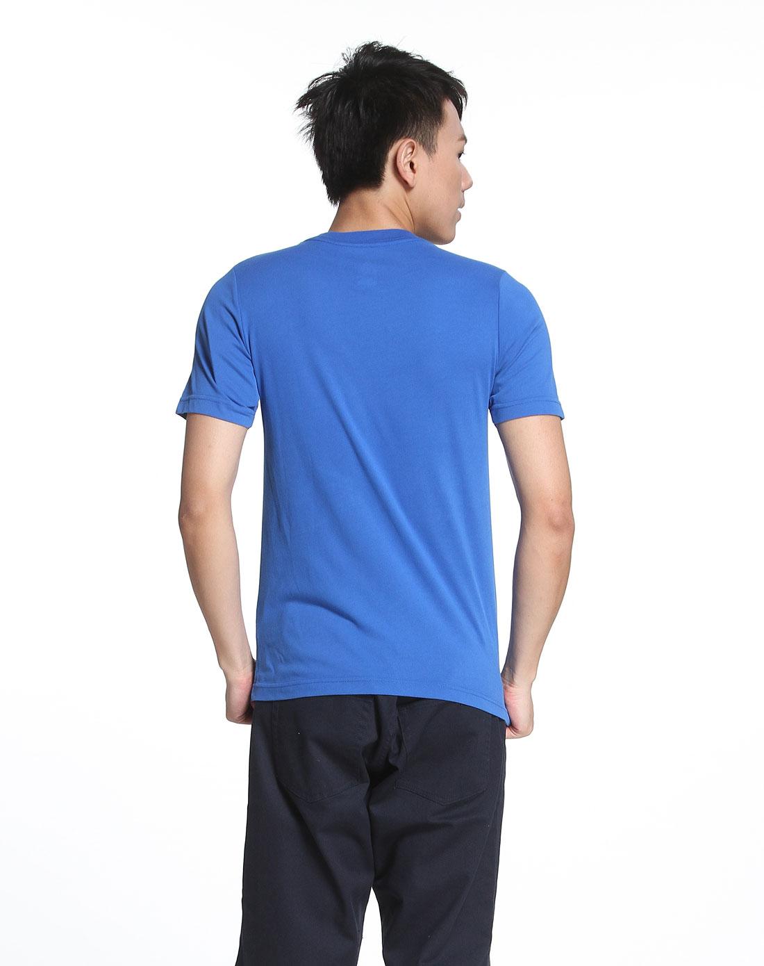 耐克nike男款时尚暗花彩蓝色短袖t恤372643-475