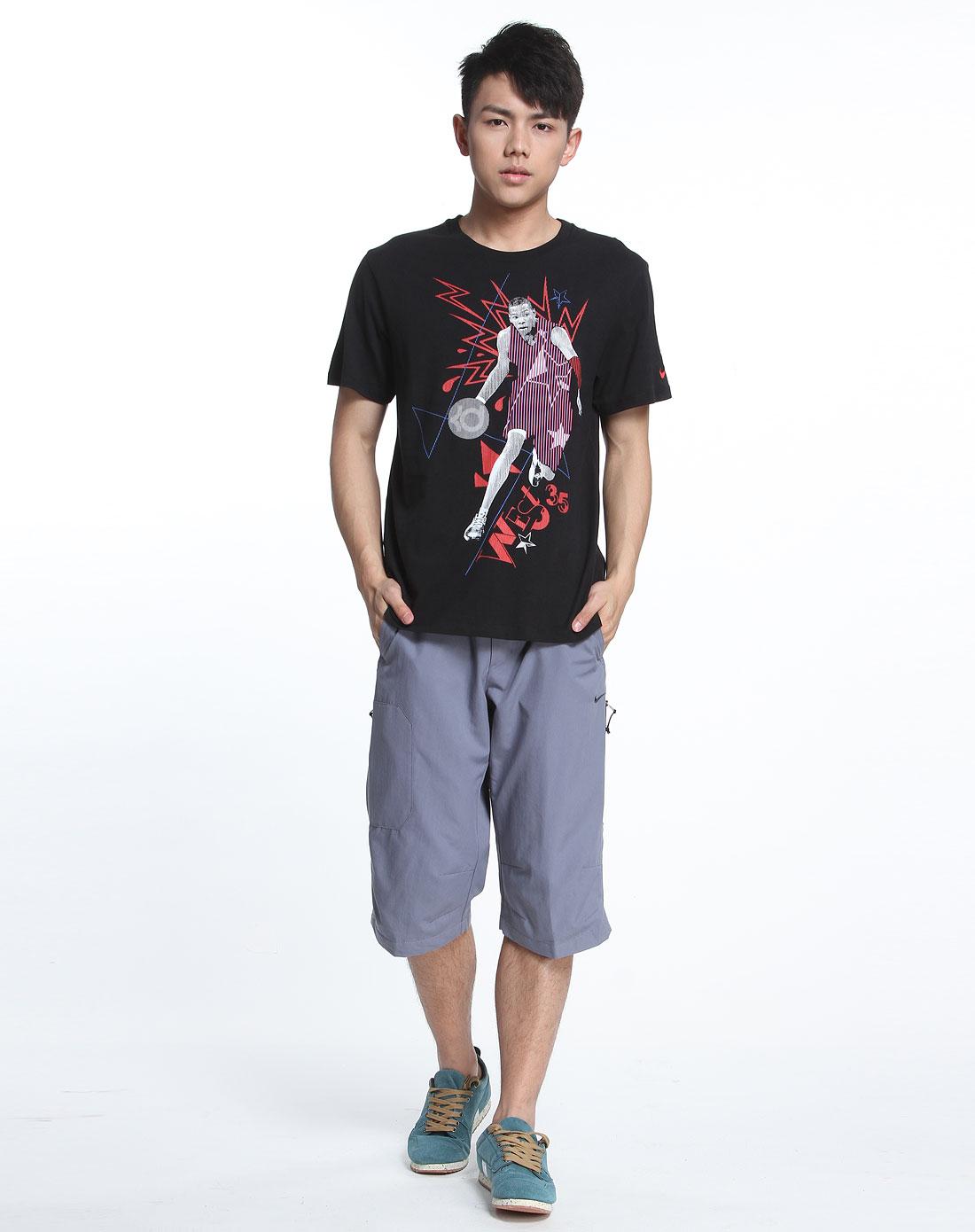 耐克nike男装专场-男款黑色篮球明星系列短袖t恤