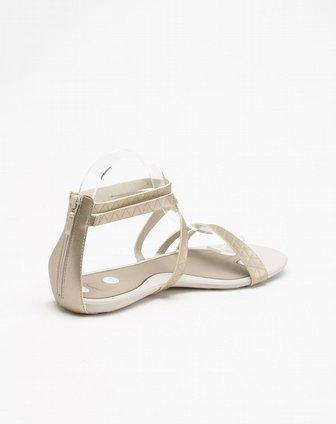 三角形纹灰金色凉鞋