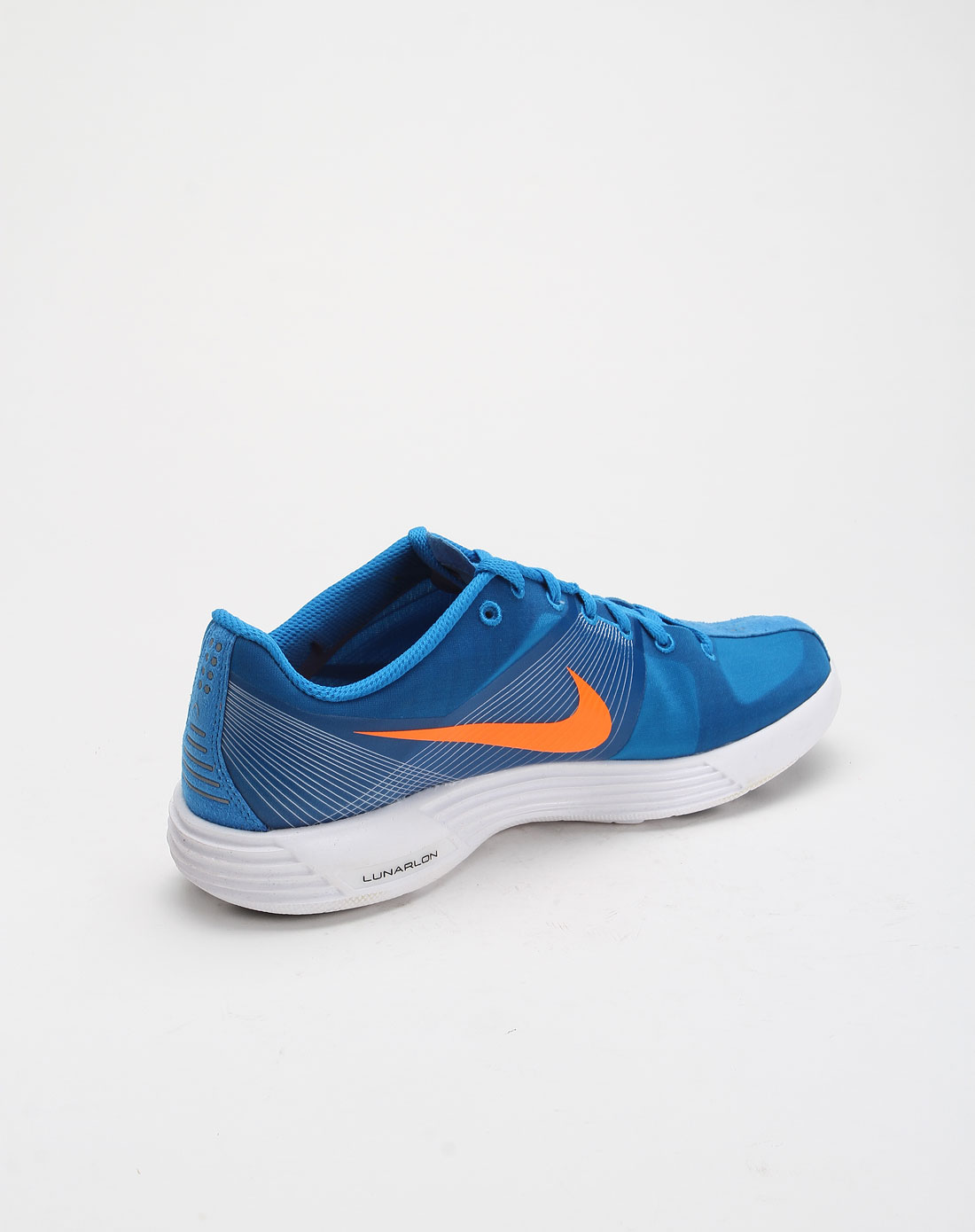耐克nike男款线纹拼接logo白底蓝色低帮跑步鞋324909