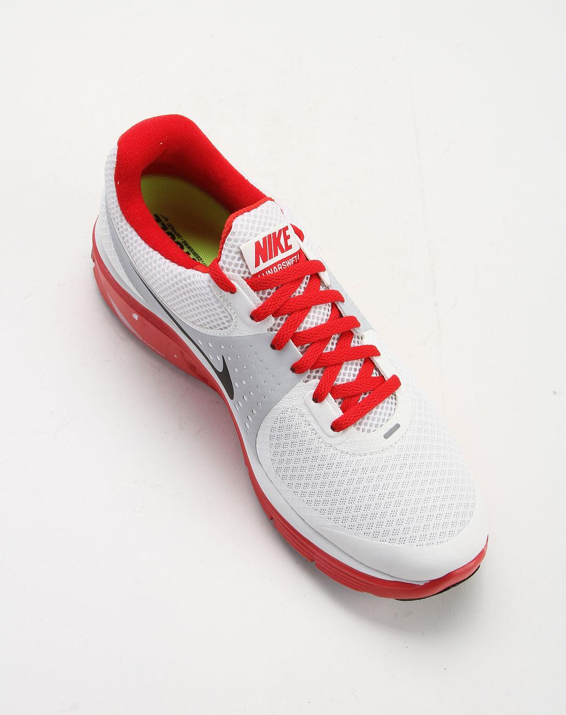 男款白色红底网布跑步鞋
