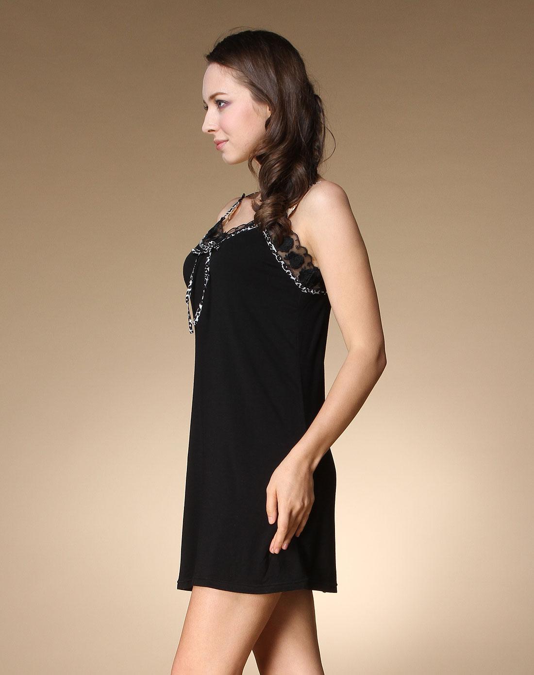欧迪芬ordifen女士内衣专场黑色蕾丝花边吊带睡衣od 高清图片