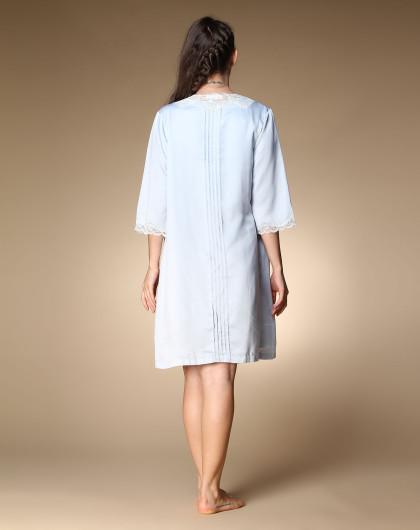 袖跺(h�(�_欧迪芬ordifen 蕾丝收腰性感中袖浅灰蓝色睡袍