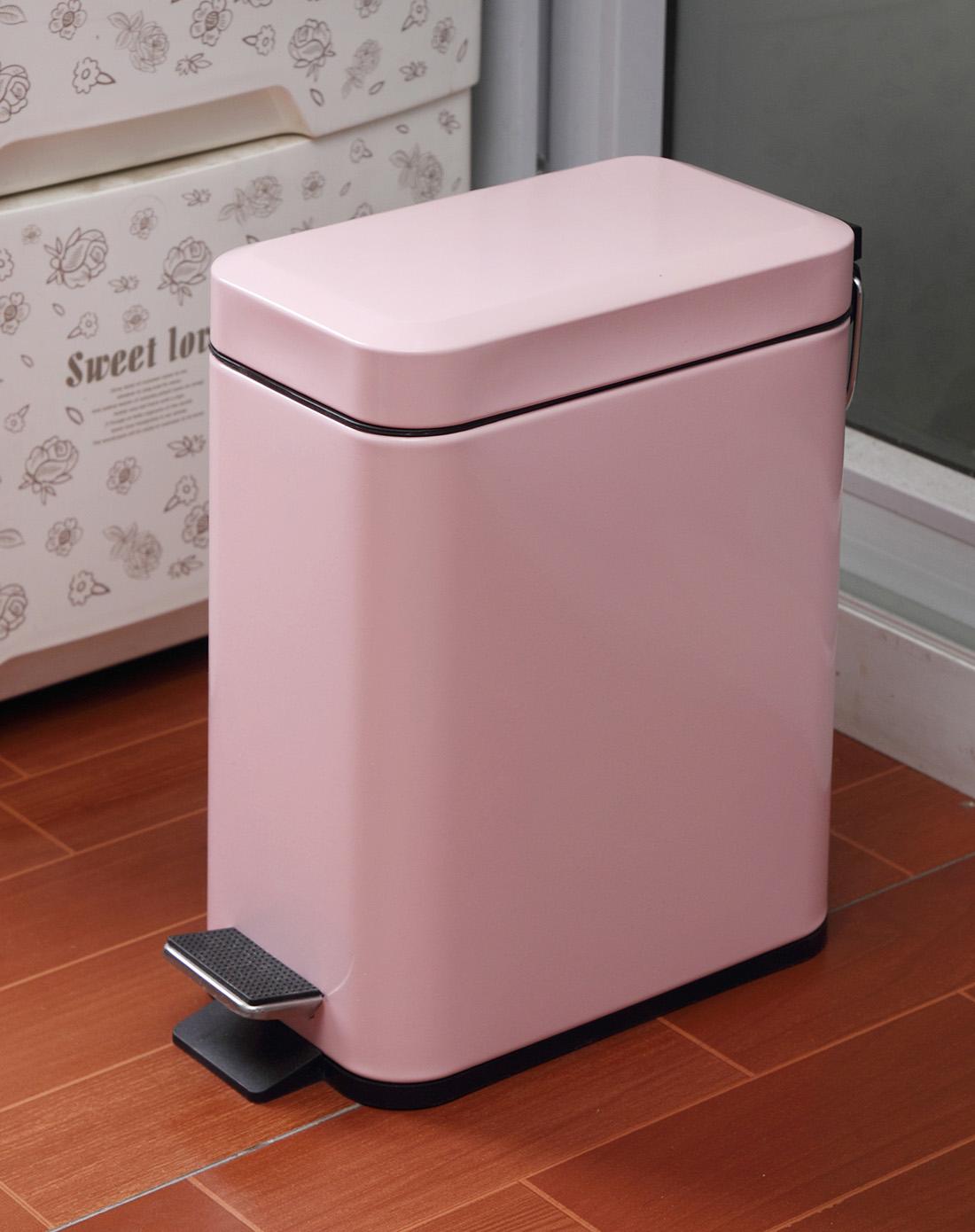 欧润哲orange家居粉色长方形垃圾桶100605