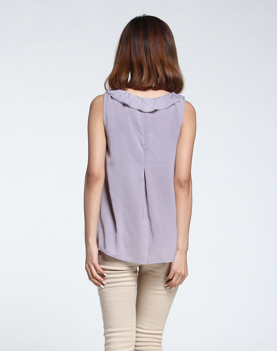 无袖跺(h��ފ9_灰紫色绣花优雅无袖衬衫