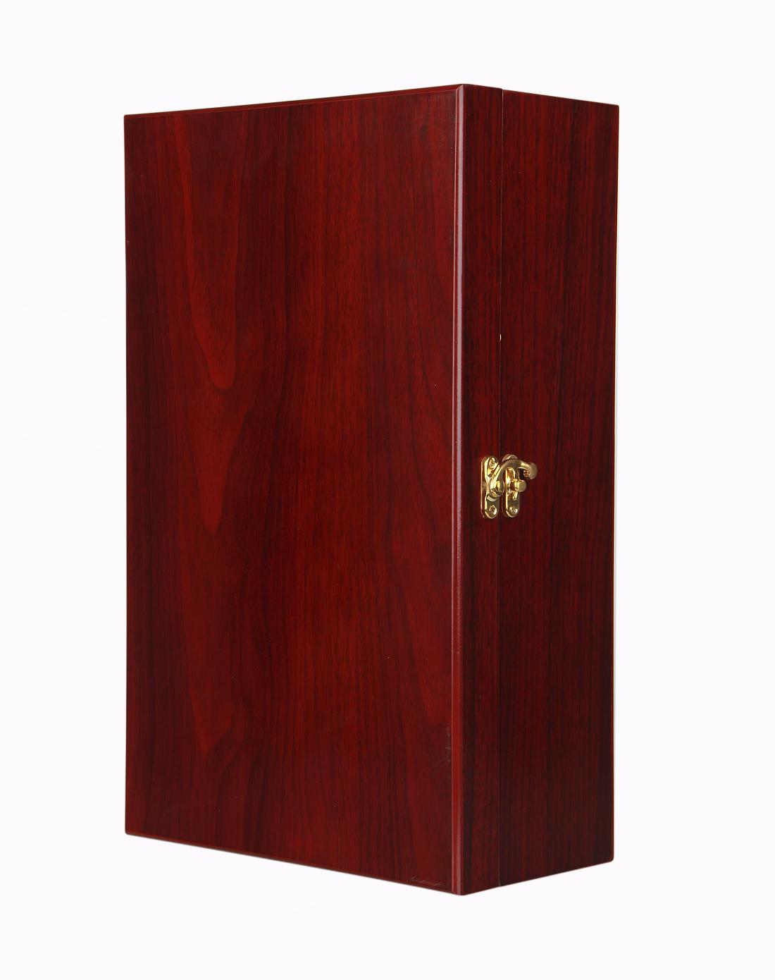 恒美 高档棕红色红木双支木盒 配四件套