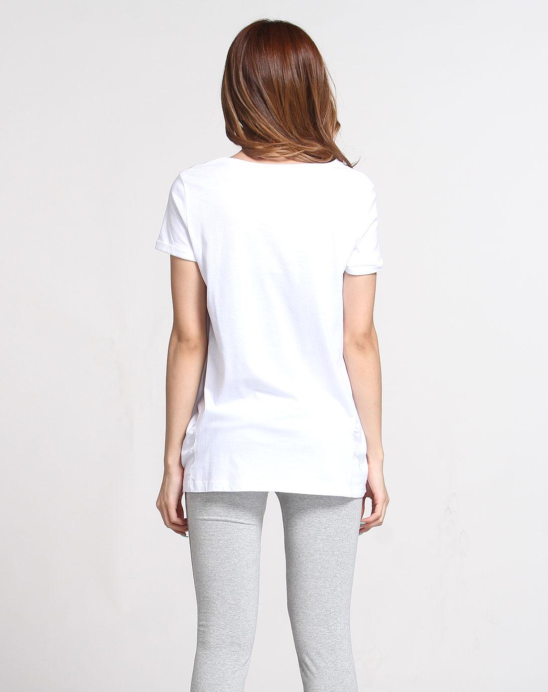 白色个性蕾丝手绘短袖t恤