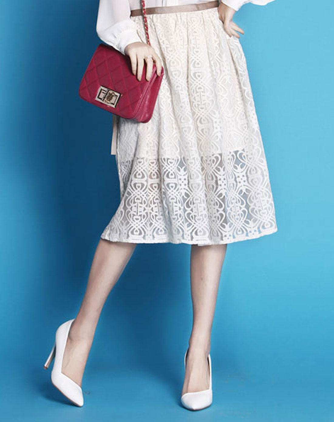 ohdear白色新款白色蕾丝飘带中长款半裙h060001