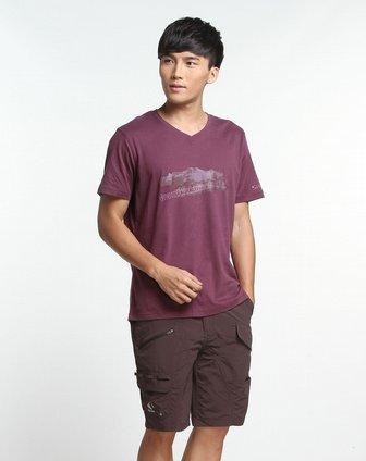 男款深紫色大戈壁图案短袖户外t恤