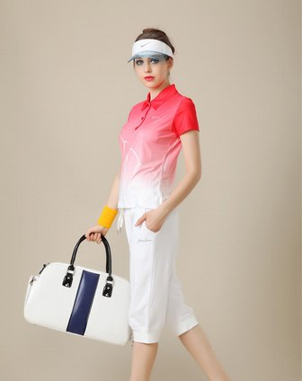 曼奴menlow男女装女款红/白色渐变色休闲短袖polo衫a