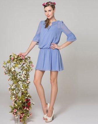 osa 浅蓝色纯色雪纺连衣裙