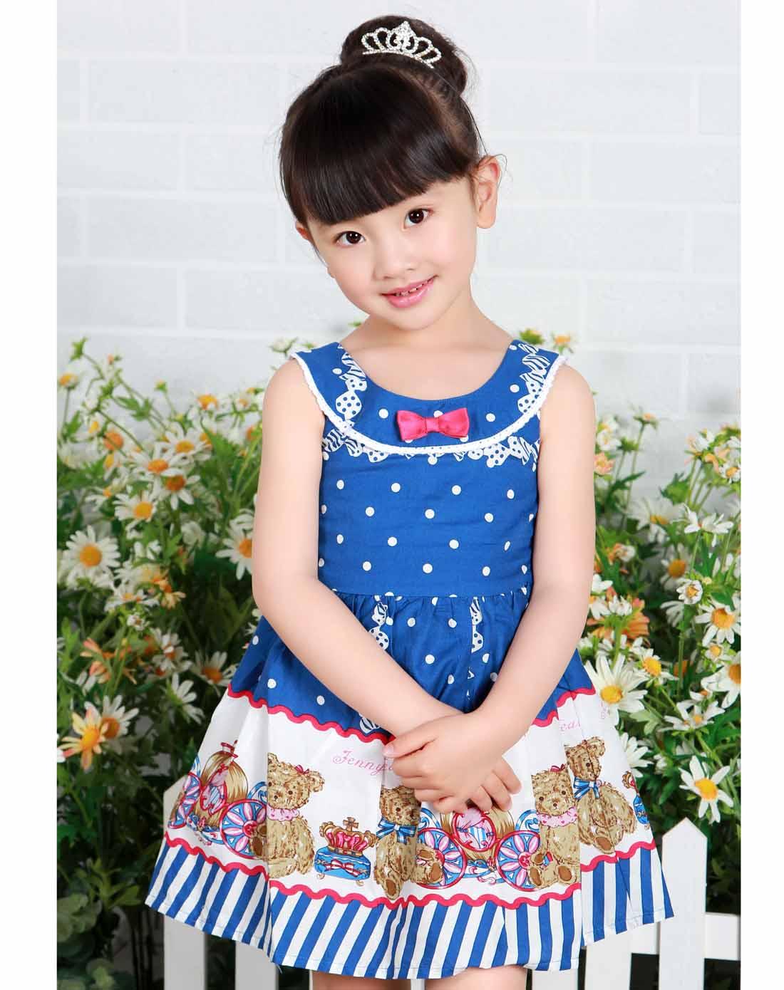 珍妮贝尔 女童蓝色可爱公主连衣裙