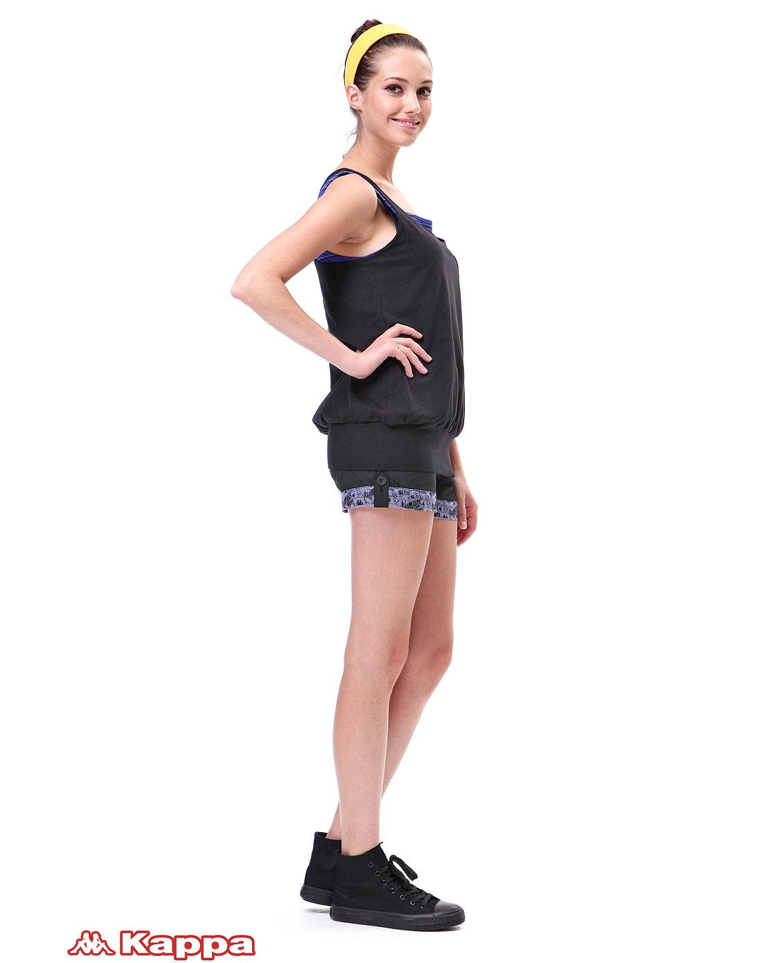 卡帕kappa女装专场-女色黑色时尚背心
