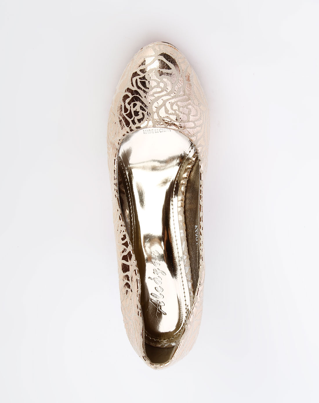女鞋库存专场-阿卡莎 金色花纹时尚高跟鞋