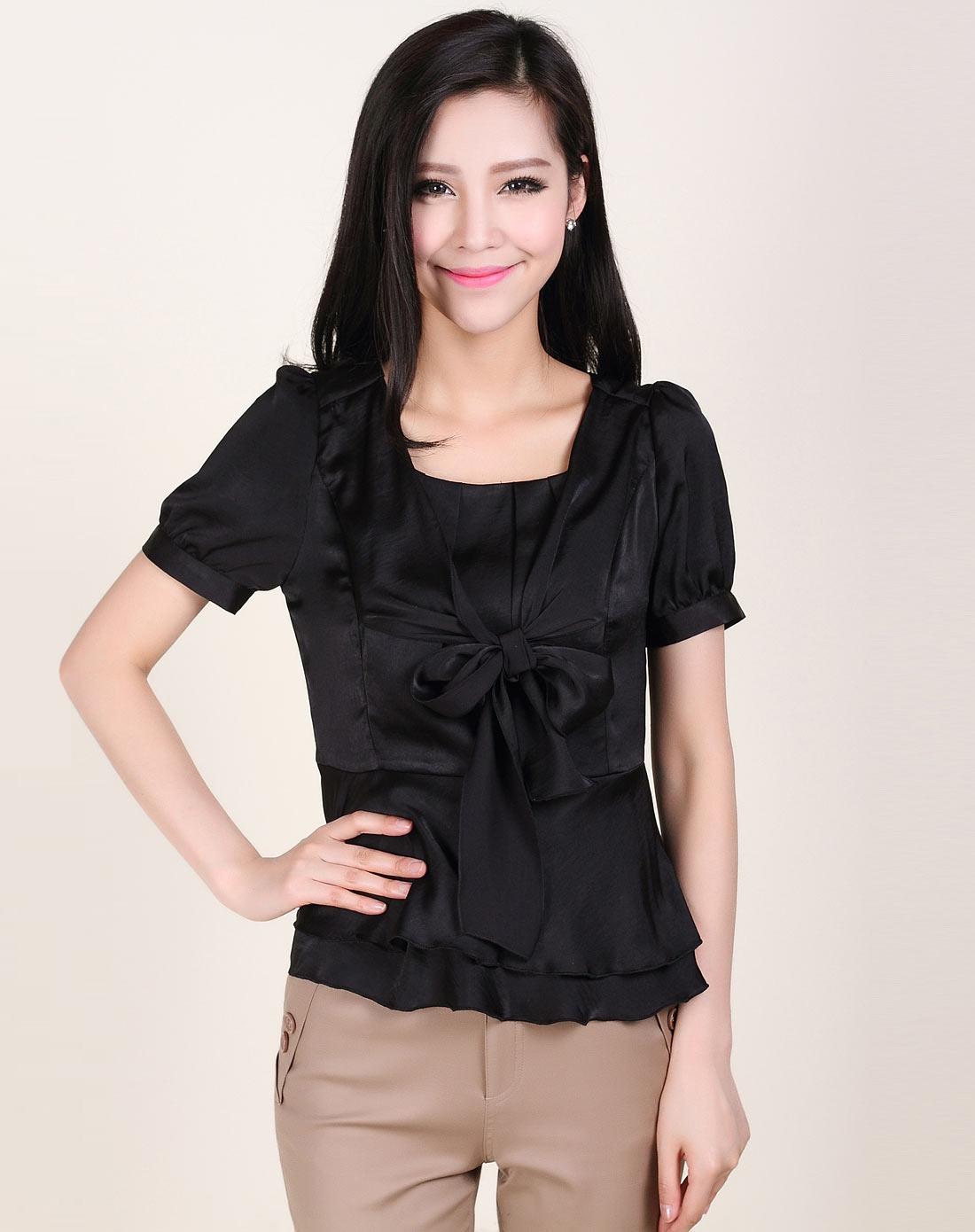宽松衬衫女韩版黑色