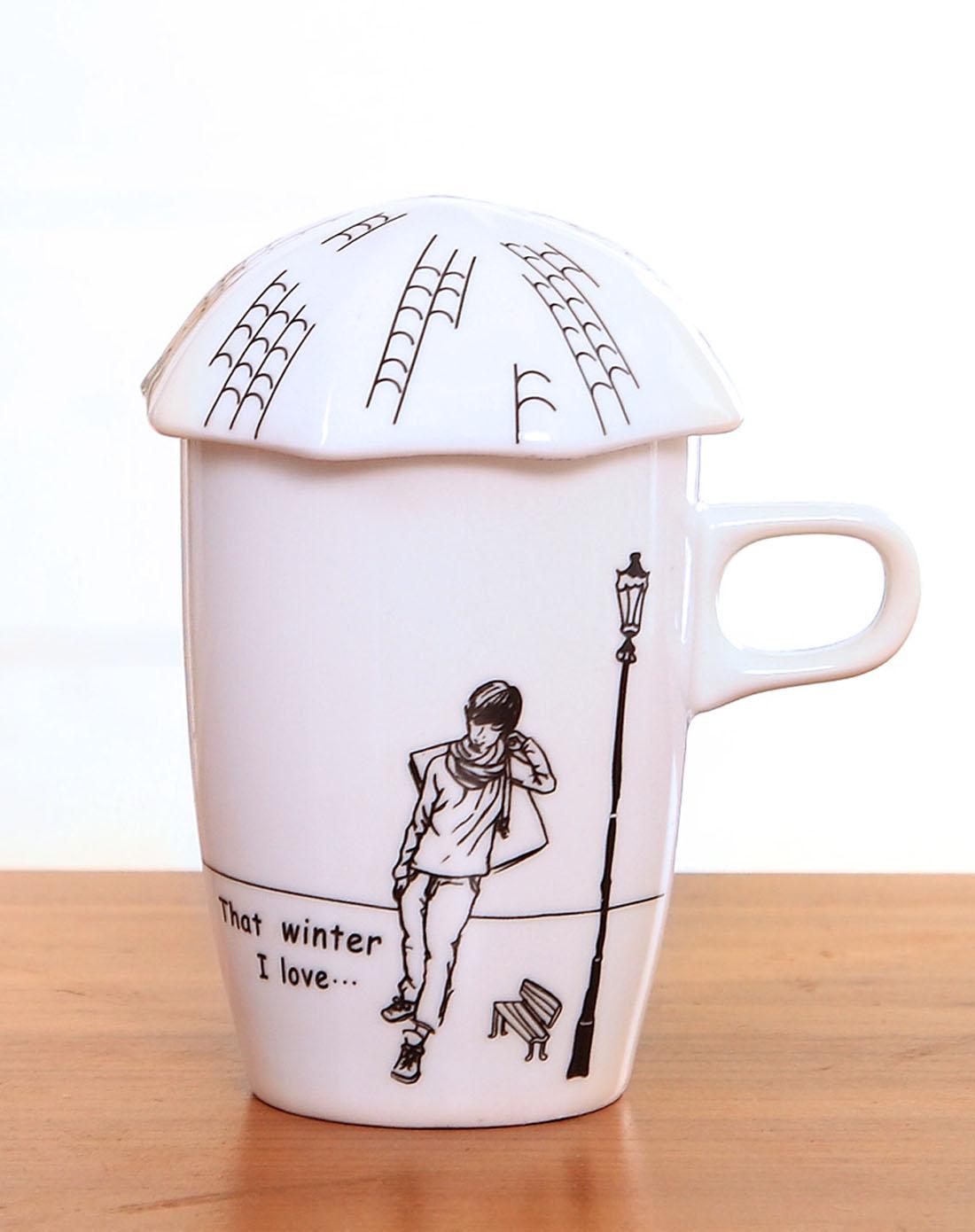 手绘漫画风陶瓷马克杯-路灯男孩