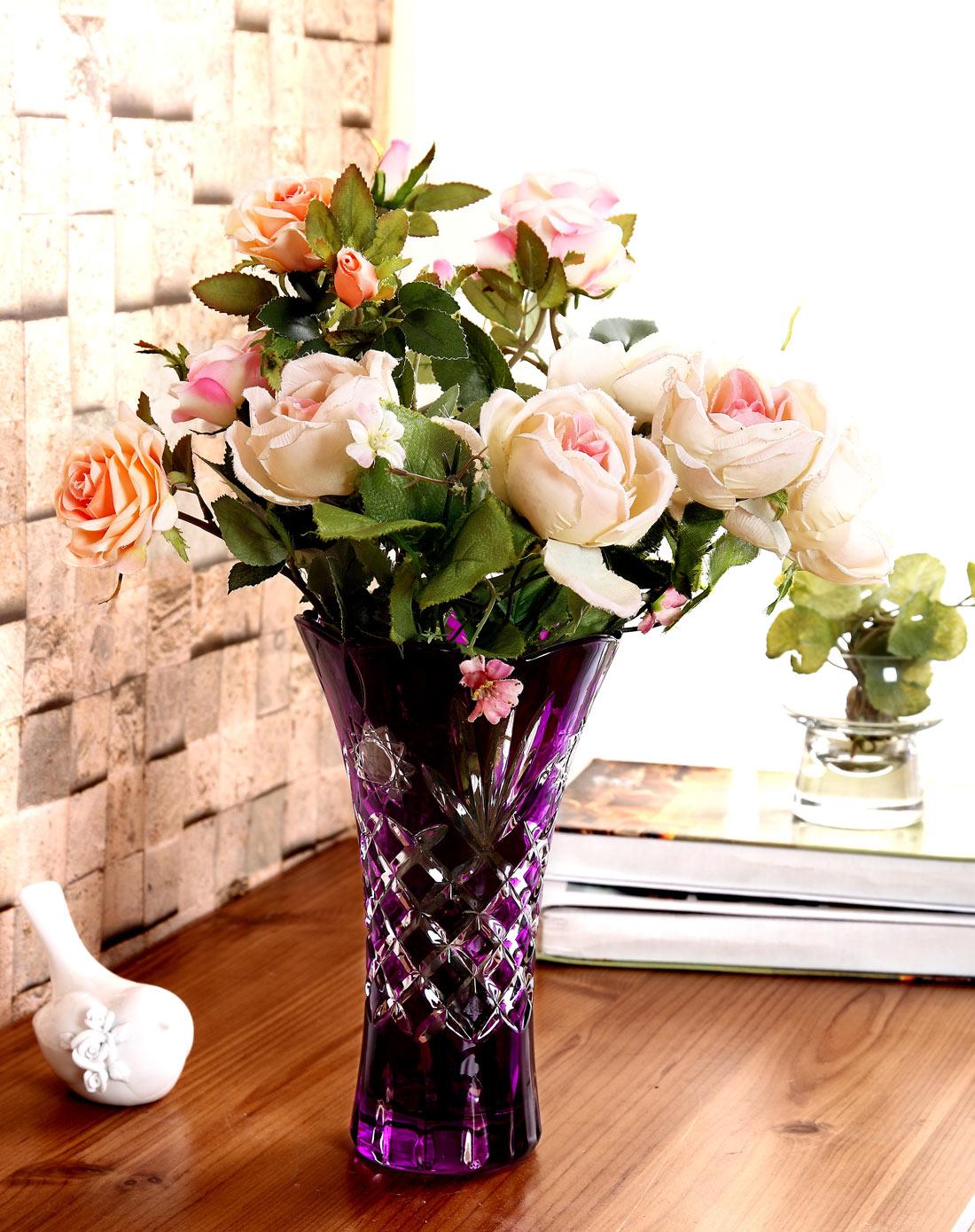 欧式复古水晶玻璃螺纹花瓶-方格
