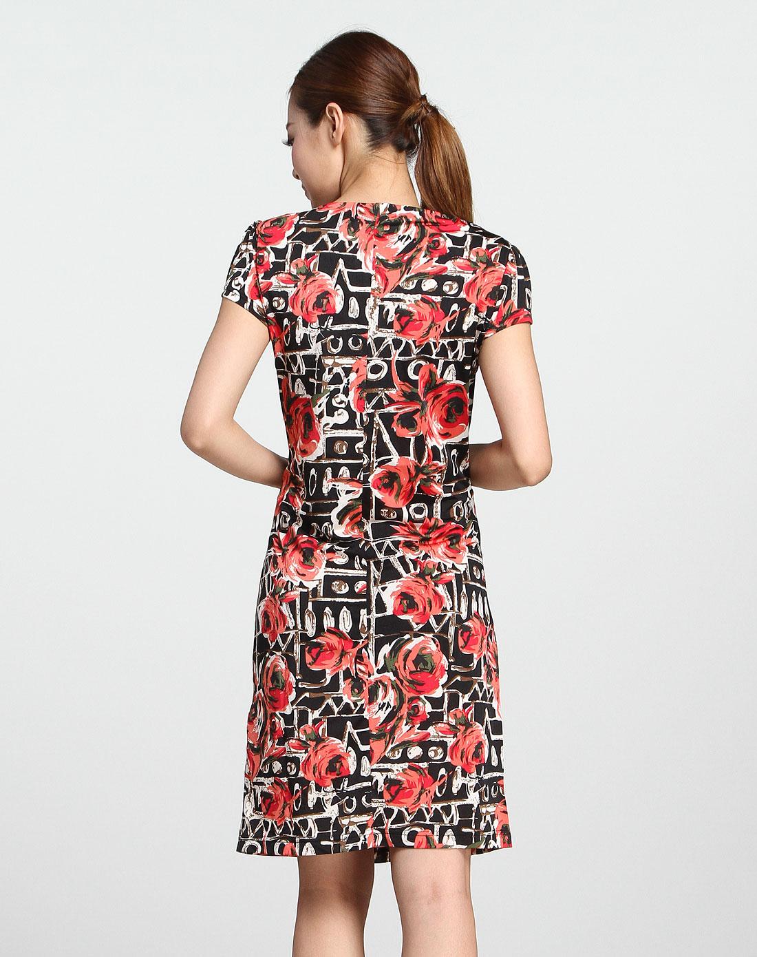 玫瑰花纹红黑色短袖连衣裙