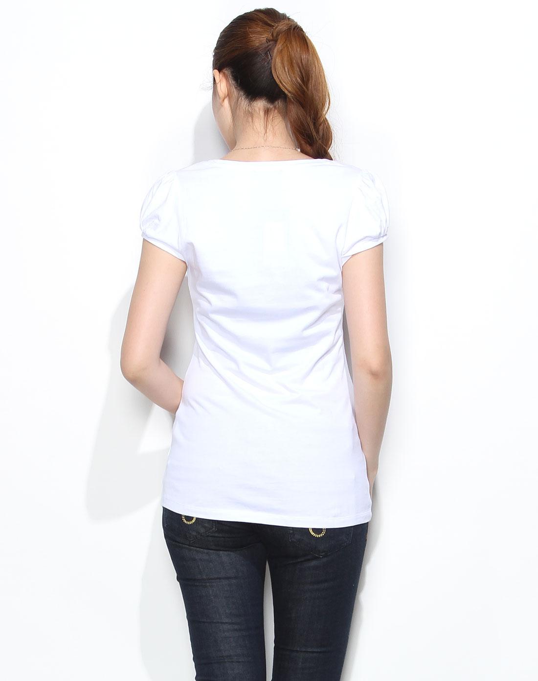 手绘可爱少女白色短袖t恤