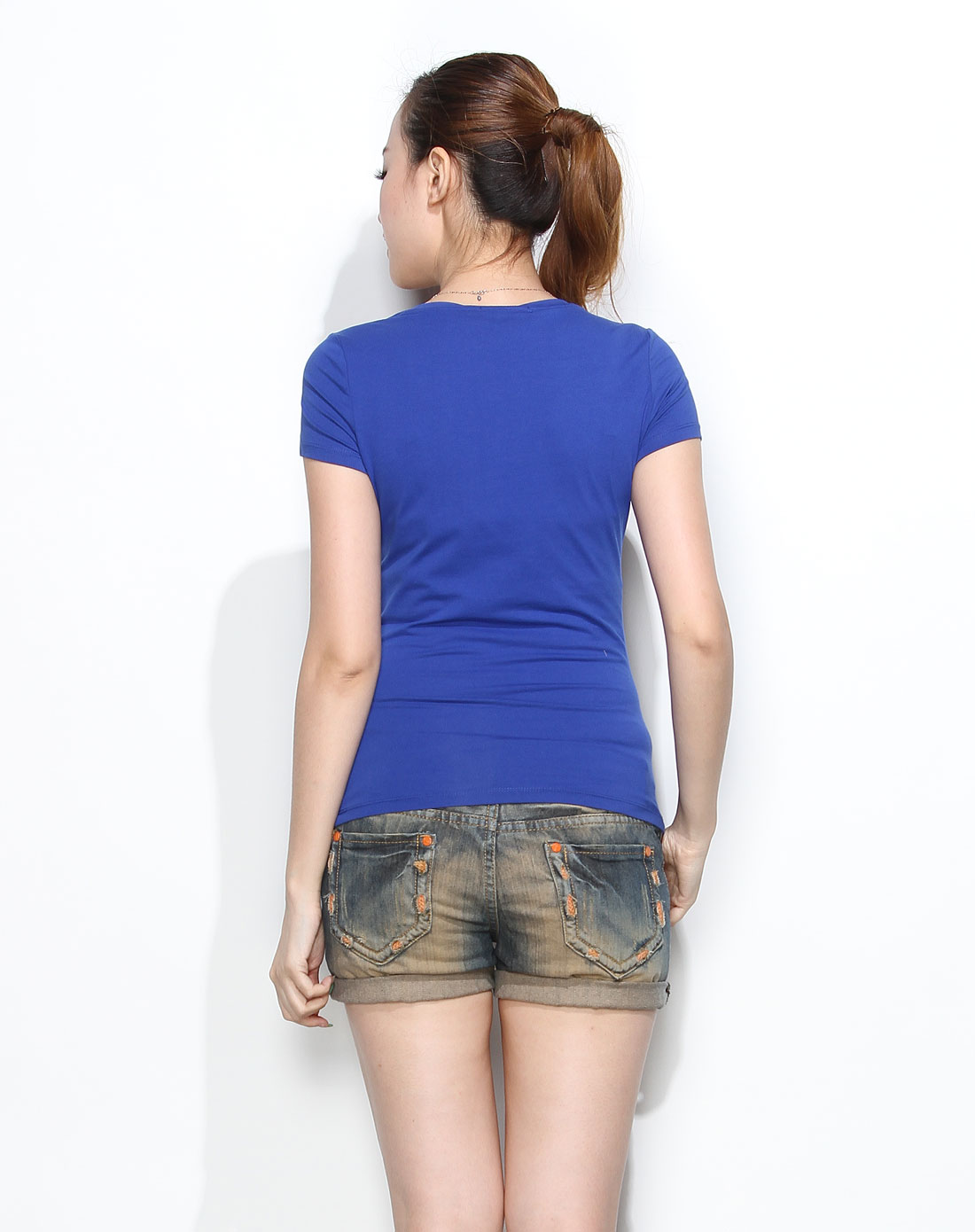 可爱女孩印花艳蓝色短袖t恤
