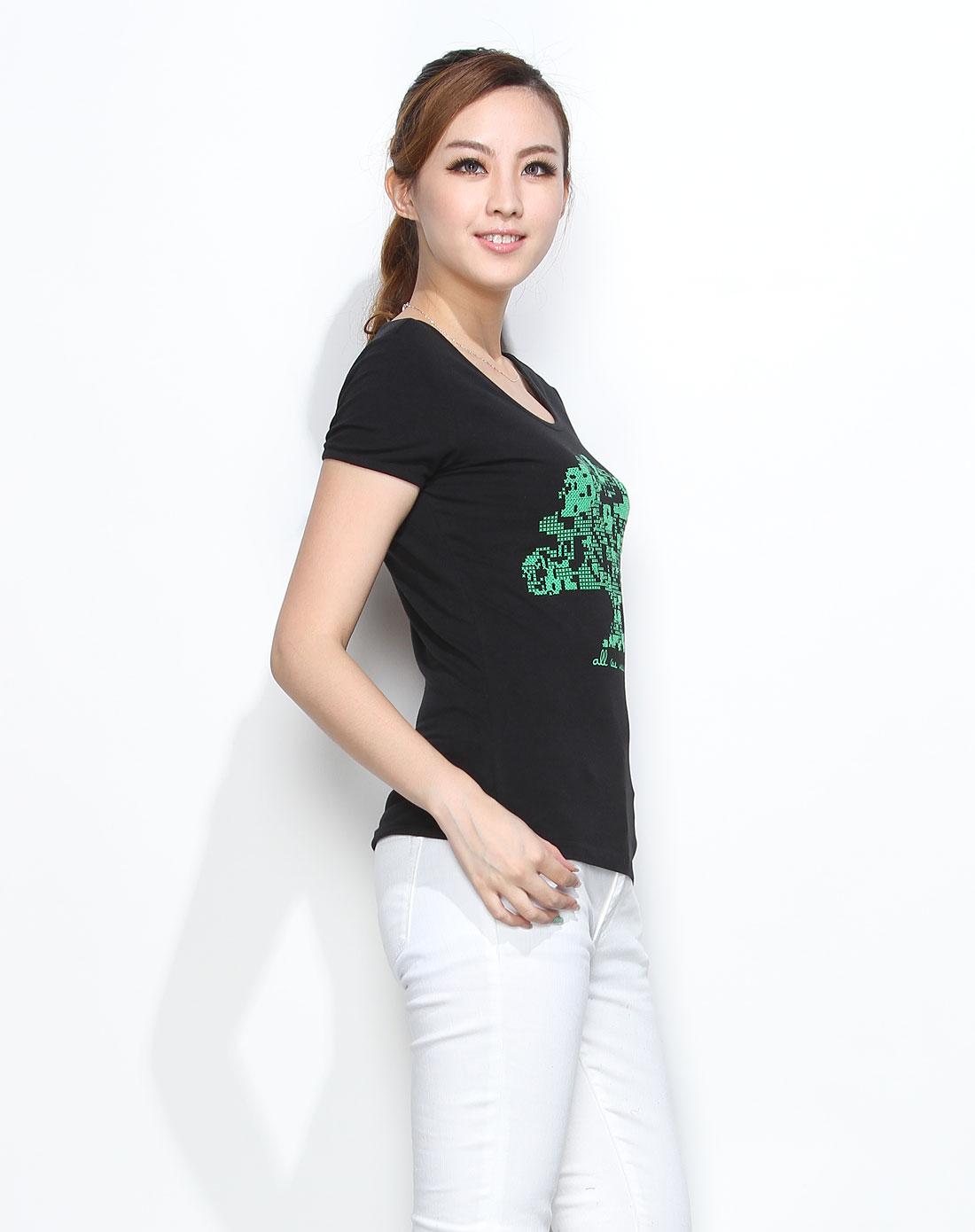 印树图案黑色短袖t恤