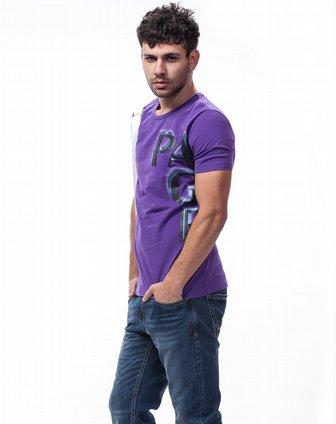 紫色印花图案圆领短袖t恤