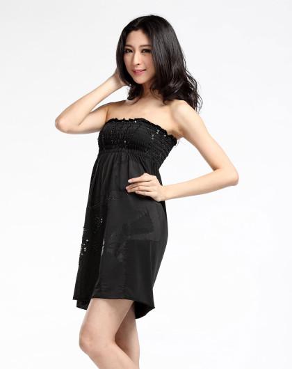 黑色女装抹胸裙