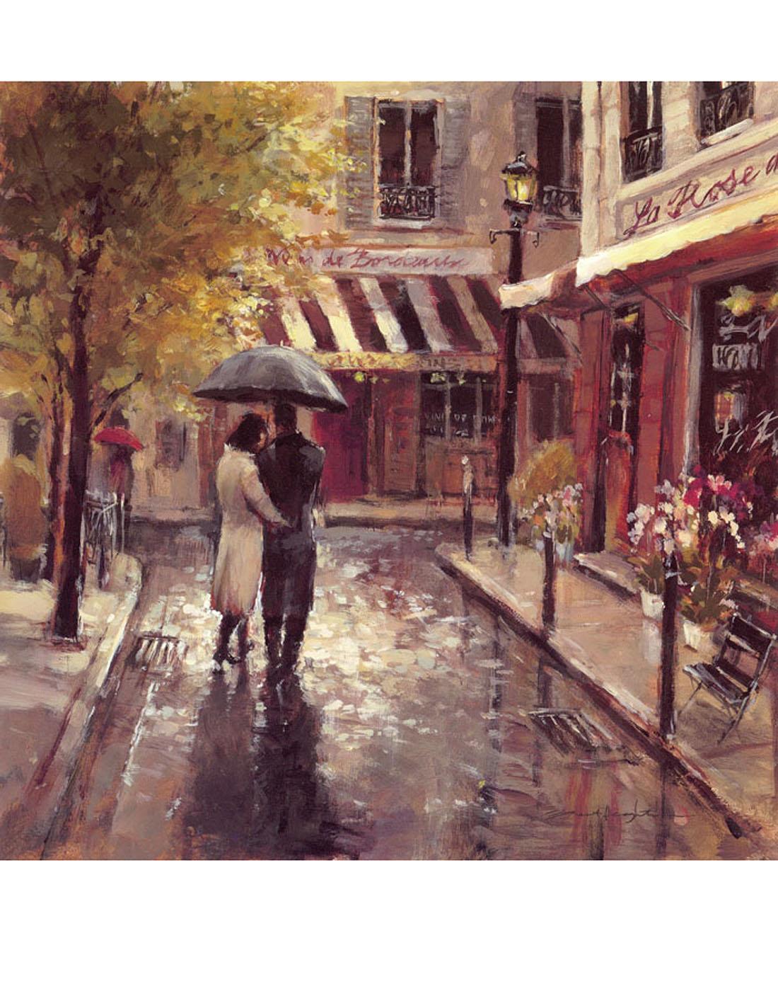 无框油画 雨中背影